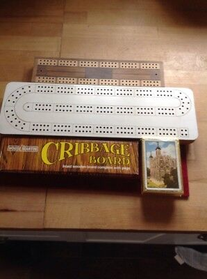 Vintage Cribbage Boards X3  House Martin Set Plus 2 Nice Boards Plus Cards
