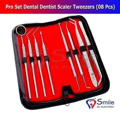 Pro Set Dental Dentist Scaler Tweezers Instruments pick tool kit Leather Case CE