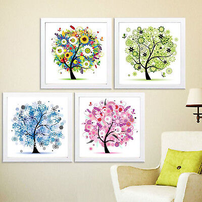 Four Season Home Decor Colorful Tree Counted Cross Stitch Kit Embroidery Set 11c
