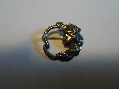 "Small Silver Tone Art Nouveau ""Style"" Repousse Pin/Brooch, Victorian Lady, 7/8"""