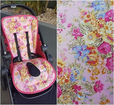 Floral Bouquet Pink Universal Reversible Pram Liner With Wings - Girls
