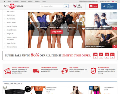 MyCorsetStore.com | Corsets & Bustiers Online Business For Sale | DropShipping