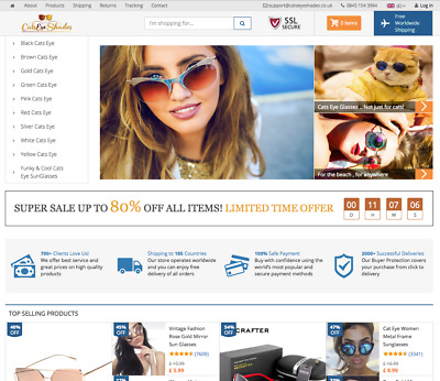 CatsEyeShades.co.uk | Cats Eye Sunglasse Online Business For Sale |DropShipping