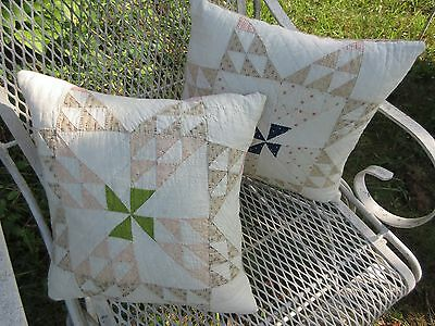 2 Antique Pinwheel Star Quilt Pillow Farm Country Cottage Throw Accent Patchwork