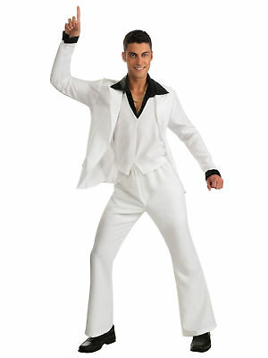 Saturday Night Fever 1970s White Suit Tony John Travolta Disco Men Costume STD