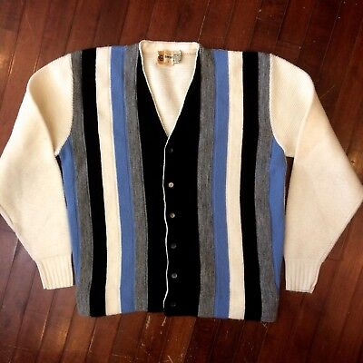 JC Penney Towncraft Vintage 1960s Mens Large Sayelle Acrylic Cardigan Sweater
