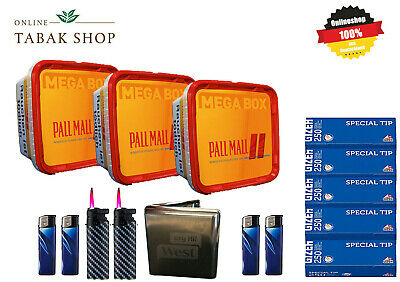 3 x Pall Mall Allround Red Mega Box 210g, 1000 Hülsen, 3 Feuerzeuge, Etui