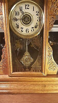 """Working ANTIQUE WILLIAM GILBERT GINGERBREAD CLOCK PARLOR MANTLE W/ ALARM 23"""""""
