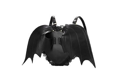 Coofit Backpack for Girls Bat Wings PU Leather Backpack Black Backpack Cu... New
