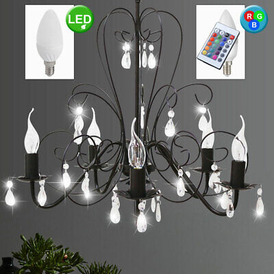 RGB LED Chandelier Remote Control Colour Chaning Crystal Hanging Antique Style