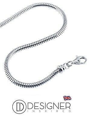 """Sterling Silver 925 2mm Snake Necklace Pendant Chain 15g 18"""" inch Lobster Clasp"""