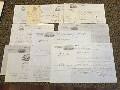 Lot 10 Antique Ship Bills Lading English 6 Pence Revenue Stamp 1851 New Orleans