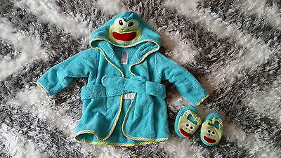 Baby Starters Terry Bath Robe & Sandals Boy or Girl Unisex 0-9 m
