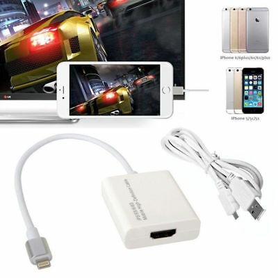For Apple iPhone 6 7 To USB HDMI TV 8PIN Cable Digital AV Audio Video HD Adapter