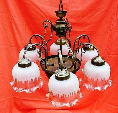 6 Arm Chandelier,Etched White Glass Shades,Bronzed Brass,Italian Made, 1960s