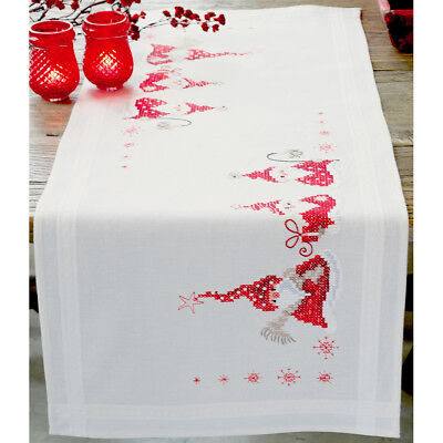 """Gnomes Christmas Table Runner Stamped Embroidery Kit-16""""X40"""" V0146077"""