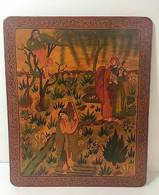 VTG Antique? Persian Lacquer Painting Board or Panel Arabic Calligraphy Border