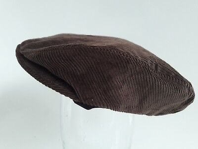 Baby boys brown cotton cord corduroy & lined flat cap newborn to 36 month childs