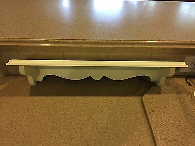 "NICE Home Interiors for Kids ""WHITE WOOD SHELF""  20""x 5""x 3.5"" w plate groove"