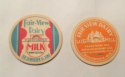 Bottle Cap ☆ Fair-View Dairy ☆ Milk Wisconsin WI Vivid Colors Farm Rare (2) Lot