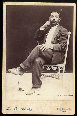 Black? Latino? Mexican? Man In Cool Pose New Braunfels Texas Cabinet Card Photo