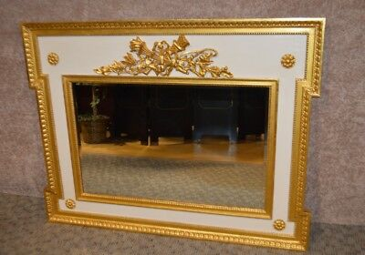 Vintage Large French Style Ornate Cream & Gold Wall Mirror