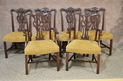 Vintage/Antique Set of Six Solid Mahogany Chippendale Style Dining Chairs