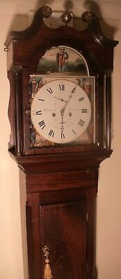 "Antique Mahogany Eight Day "" Newcastle "" Longcase / Grandfather Clock"
