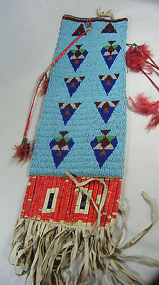 1900's Native American Sioux Pipe Bag Fully Beaded & Quilled #760