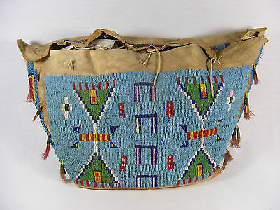 1900's Native American Sioux TeePee Bag Fully Beaded #739