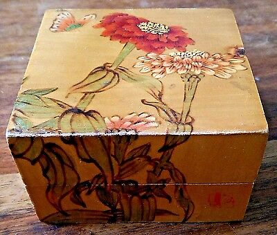 Vintage signed Chinese hand painted and carved silk lined box