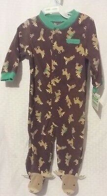 NEW CARTER'S  Baby Boy Clothes size  3-6 month Soft Fleece Moose Pajama Sleeper