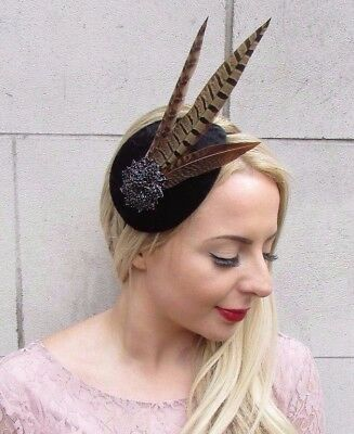 Black Brown Pheasant Feather Fascinator Races 1940s Headband Vtg Cocktail 3969