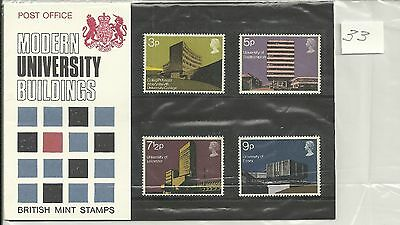 Great Britain British Architecture Post Office Pack 1971 Sg Pp33