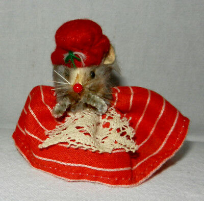 Vintage Original Fur Toys Mouse in Red Hat Dressed Made in W. Germany