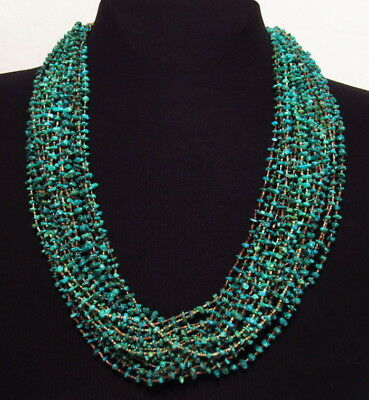 """RARE OLD Navajo Begay 20 Strand Lone Mountain Turquoise 925 Silver 30"""" Necklace"""