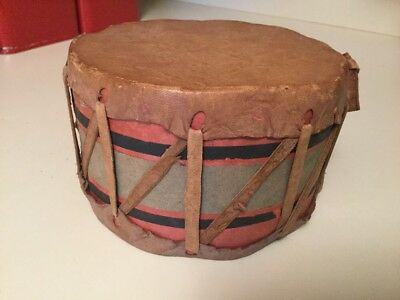 """Small Vtg Antique Native American Indian Drum  5 1/4""""X 3 1/2"""" Rawhide Skin Hide"""