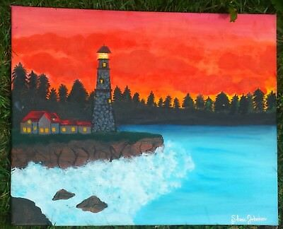 Lighthouse ocean sunset colorful painting landscape