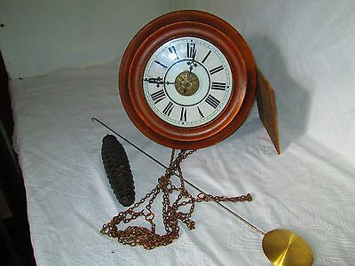 Victorian Postmans Alarm Wall Clock, Stained Beechwood. Blackforest White Enamel