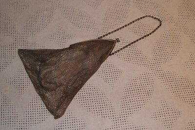 Antique Victorian 800 Silver Mesh/Chain Evening Purse/Clutch - Gothic Ogive