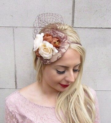 Brown Cream Rose Flower Fascinator Headband Races Wedding Net Hair Vtg Hat 3977