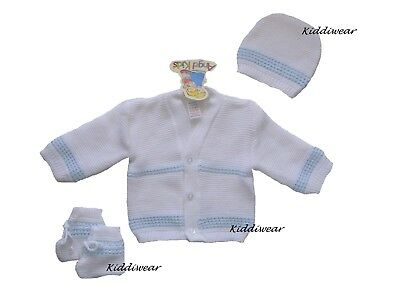 Baby cardigan set 0-3 months white blue hat & booties knitted winter warm boy