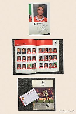 "David Beckham & Team "" Signed ""  Manchester United 1999 Euro Cup / Treble"
