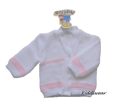 Baby Girl Cardigan 6-9 months white & pink machine knitted top winter warmth