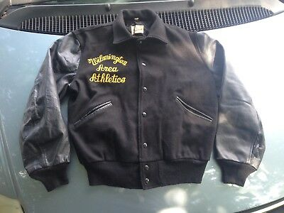 Vtg Black Butwin Wool Leather Athletic Jacket Letterman 50s 60s Rockabilly 42