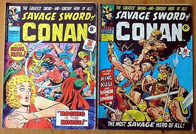 SAVAGE SWORD OF CONAN #1 and 2 - MARVEL COMICS March 1975