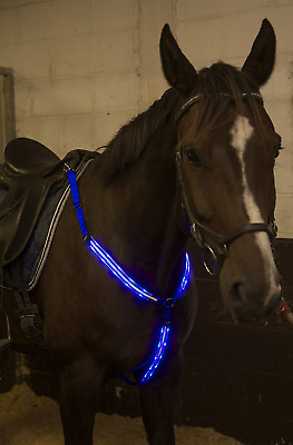 LED Horse Breastplate Collar - USB Rechargeable - Best High Visibility Tack For