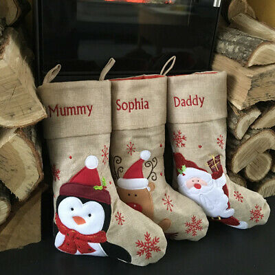 Personalised Kids Luxury Embroidered Xmas Stocking Grey Christmas Sack Present