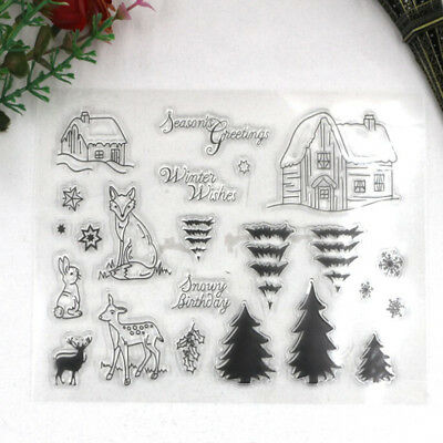 Fairy Animals Tree Clear Transparent Stamp DIY Scrapbooking Card Christmas Decor