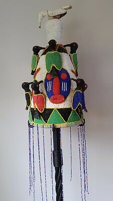 Yoruba Beaded Crown with Beaded Veil and Bird Forms from Nigeria, African Art